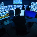 Multi Screen Video Surveillance Monitoring Station Control Room